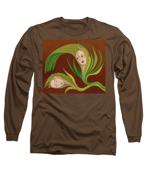 Corn Love Fantastic Realism Faces In Green Corn Leaves Sleeping Or Dead Loving Or Mourning Gree Long Sleeve T-Shirt