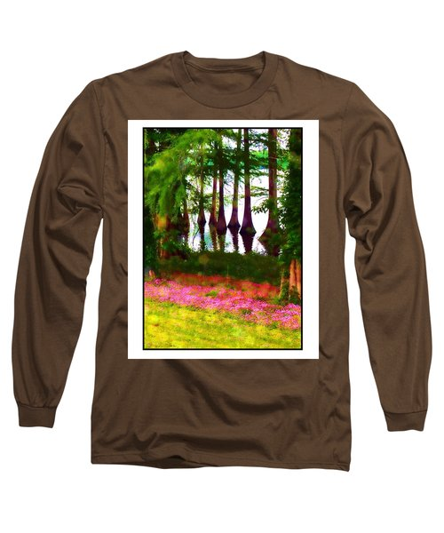 Cypress With Oxalis Long Sleeve T-Shirt by Judi Bagwell