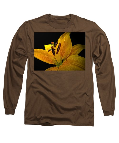 Long Sleeve T-Shirt featuring the photograph Dew On The Daylily by Debbie Portwood