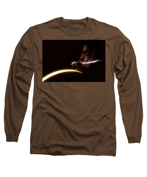Dragonfly On Golden Blade Long Sleeve T-Shirt by Lynne Jenkins