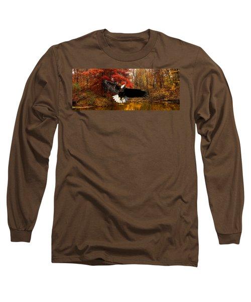Long Sleeve T-Shirt featuring the photograph Eagle In Autumn Splendor by Randall Branham