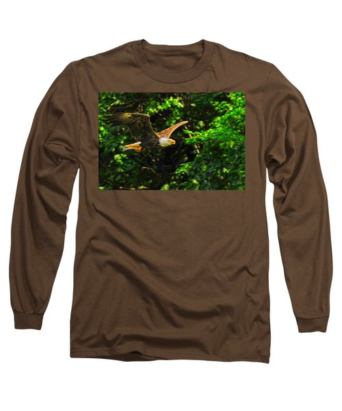 Long Sleeve T-Shirt featuring the photograph Eagle Taking Lunch To Her Babies by Randall Branham
