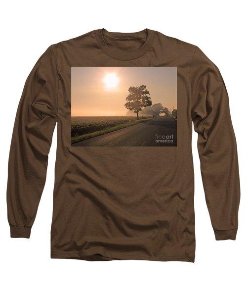 Foggy Sunrise On Soybean Field Long Sleeve T-Shirt
