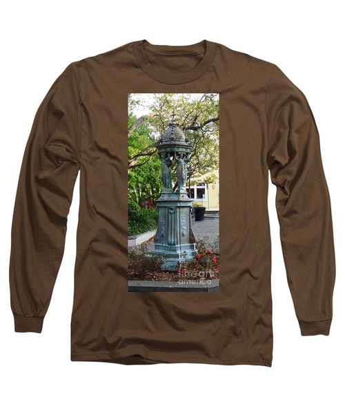 Long Sleeve T-Shirt featuring the photograph Garden Statuary In The French Quarter by Alys Caviness-Gober