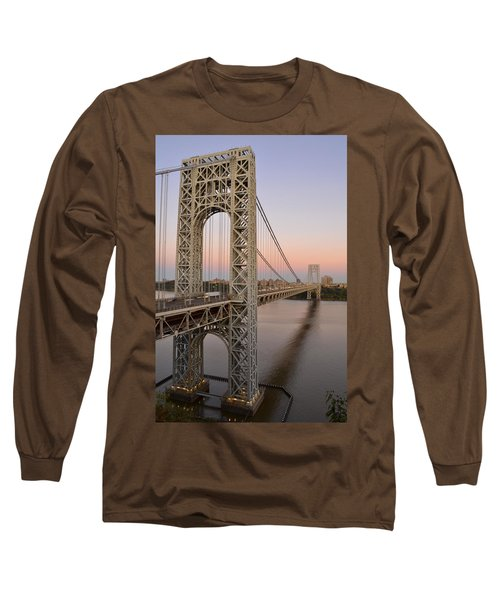 Long Sleeve T-Shirt featuring the photograph George Washington Bridge At Sunset by Zawhaus Photography