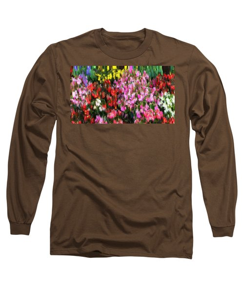 Long Sleeve T-Shirt featuring the mixed media Les Fleurs by Terence Morrissey