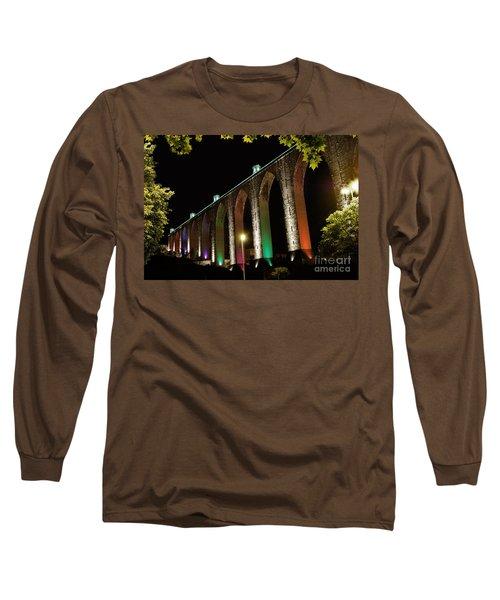 Lisbon Historic Aqueduct By Night Long Sleeve T-Shirt
