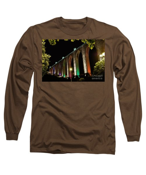 Lisbon Historic Aqueduct By Night Long Sleeve T-Shirt