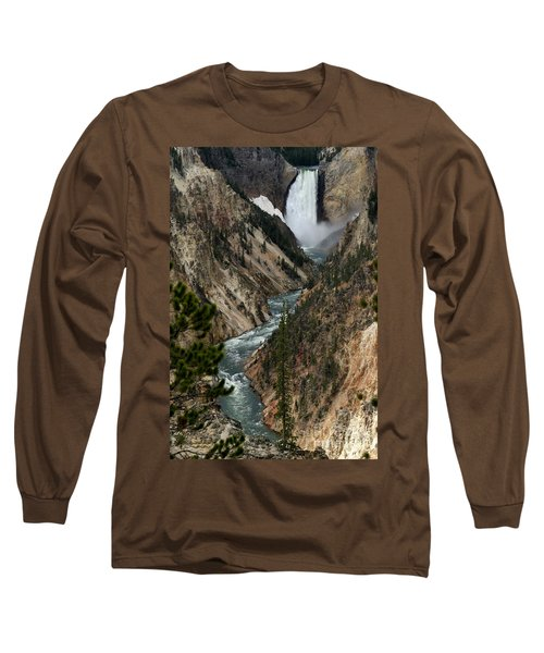 Lower Falls And Yellowstone River Long Sleeve T-Shirt by Living Color Photography Lorraine Lynch