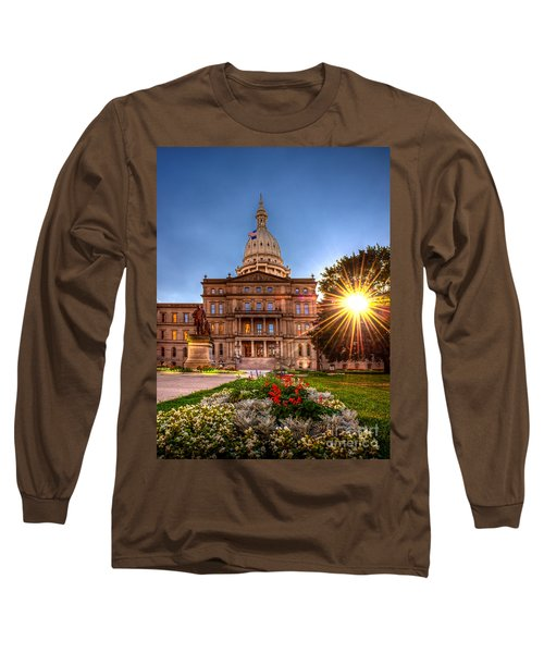 Michigan Capitol - Hdr - 2 Long Sleeve T-Shirt by Larry Carr