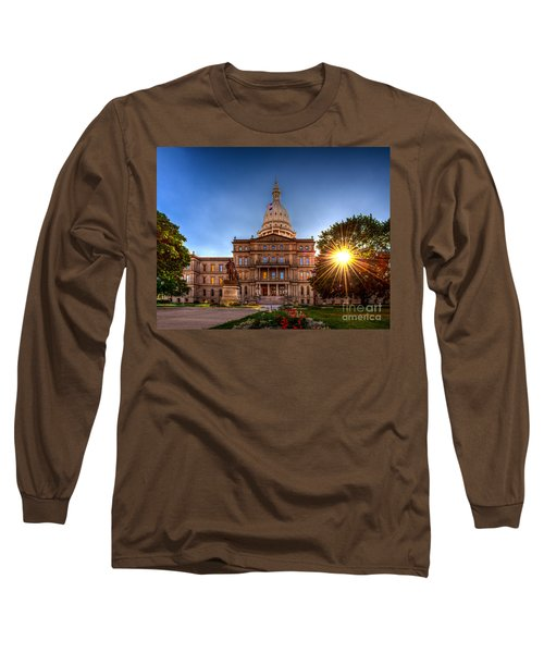 Michigan Capitol - Hdr-1 Long Sleeve T-Shirt by Larry Carr
