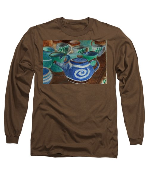 Miniature Teapots And Cups Long Sleeve T-Shirt by Christy Saunders Church