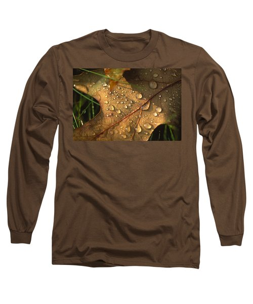 Morning Dew On Oak Leaf Long Sleeve T-Shirt