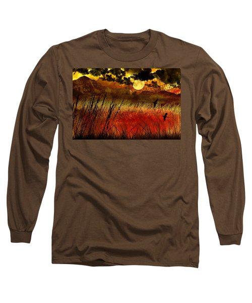 Night Falls Over The Land Long Sleeve T-Shirt by Ellen Heaverlo