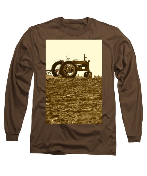 Old Tractor I In Sepia Long Sleeve T-Shirt