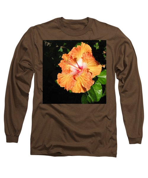 Long Sleeve T-Shirt featuring the photograph Orange Hibiscus After The Rain 1 by Connie Fox