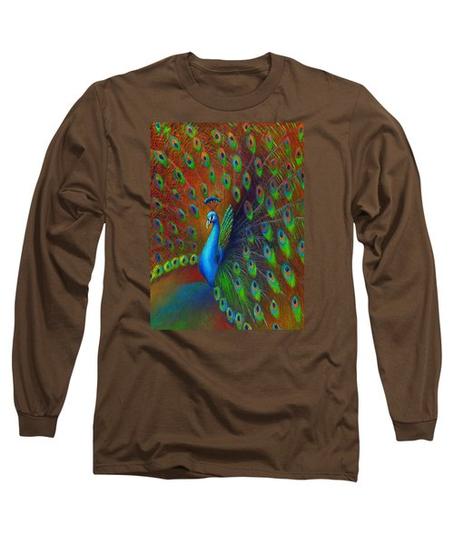 Peacock Spread Long Sleeve T-Shirt by Nancy Tilles