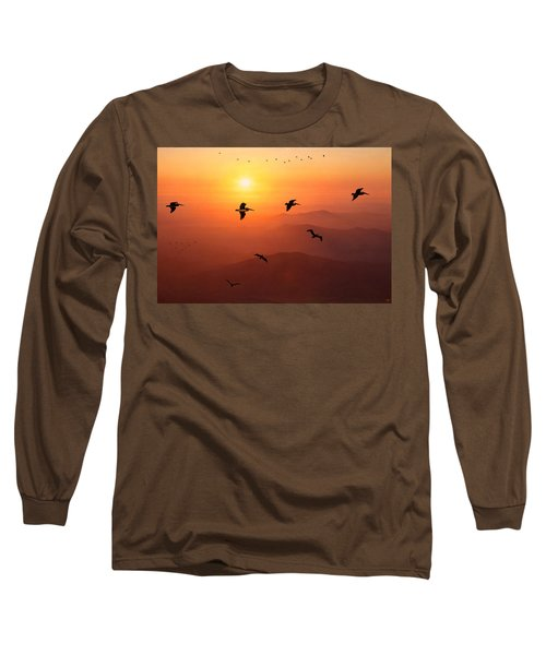 Long Sleeve T-Shirt featuring the photograph Pelican Migration by Chris Lord