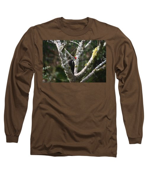 Long Sleeve T-Shirt featuring the photograph Pileated Woodpecker In Cherry Tree by Kym Backland