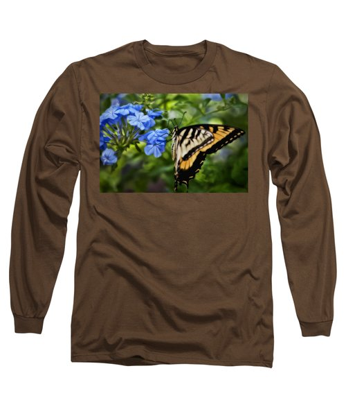 Long Sleeve T-Shirt featuring the photograph Plumbago And Swallowtail by Steven Sparks