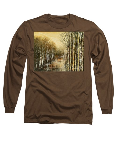 Long Sleeve T-Shirt featuring the painting Pond Security by Tatiana Iliina