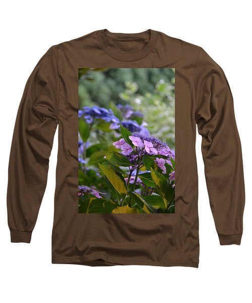 Purple And Green Long Sleeve T-Shirt by Bonnie Myszka