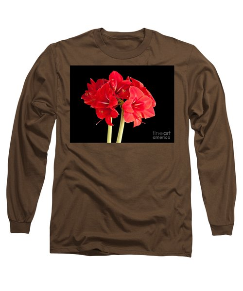 Long Sleeve T-Shirt featuring the photograph Red Amaryliss by Les Palenik