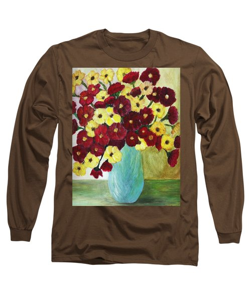 Red And Yellow Bouquet In Blue Long Sleeve T-Shirt by Christy Saunders Church