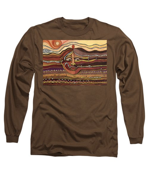 Red Aztec Face In Nature Landscape Abstract Fantasy With Earth Colors Sunset And Skyline Long Sleeve T-Shirt by Rachel Hershkovitz