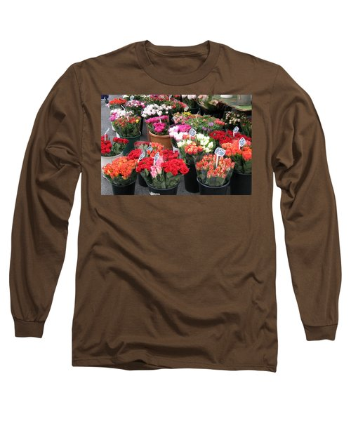 Red Flowers In French Flower Market Long Sleeve T-Shirt by Carla Parris