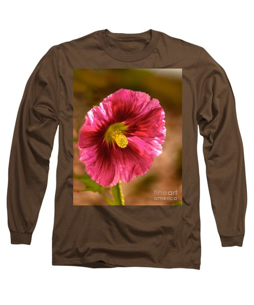 Red Hollyhock Long Sleeve T-Shirt