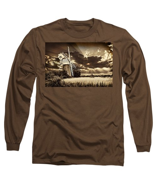 Long Sleeve T-Shirt featuring the photograph Sepia Sky Windmill by Meirion Matthias