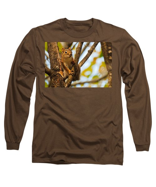 Long Sleeve T-Shirt featuring the photograph Squirrel On High by Cheryl Baxter