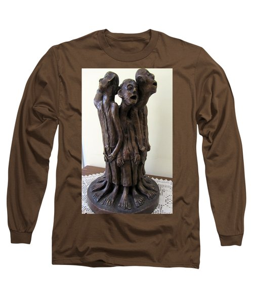 Suffering Circle In Bronze Sculpture Men In Rugs Standing In A Circle With Suffering Faces Crying  Long Sleeve T-Shirt by Rachel Hershkovitz