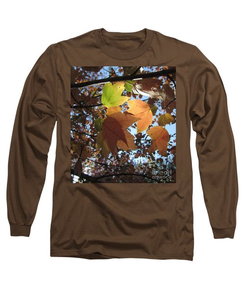 Long Sleeve T-Shirt featuring the photograph Sun-lite Fall Leaves by Donna Brown