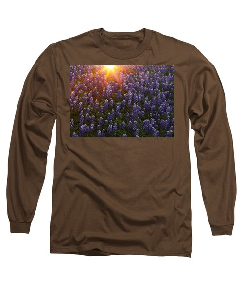 Sunset Over Bluebonnets Long Sleeve T-Shirt by Susan Rovira