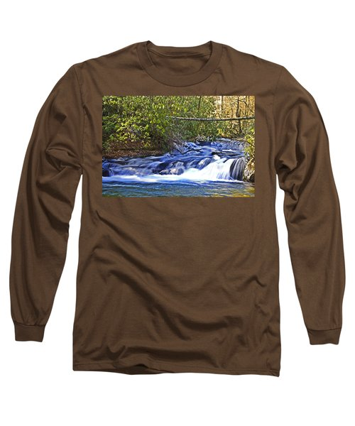 Long Sleeve T-Shirt featuring the photograph Swiftly Flowing River by Susan Leggett