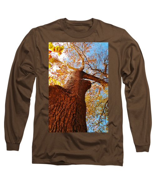 Long Sleeve T-Shirt featuring the photograph The Deer  Autumn Leaves Tree by Peggy Franz