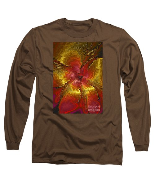 Vibrant Red And Gold Long Sleeve T-Shirt