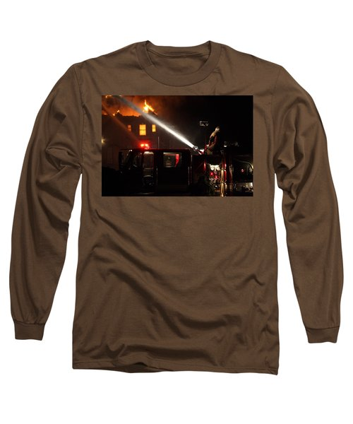 Water On The Fire From Pumper Truck Long Sleeve T-Shirt by Daniel Reed