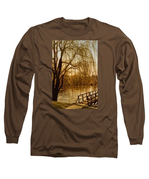 Weeping Willow And Bridge Long Sleeve T-Shirt by Barbara Middleton