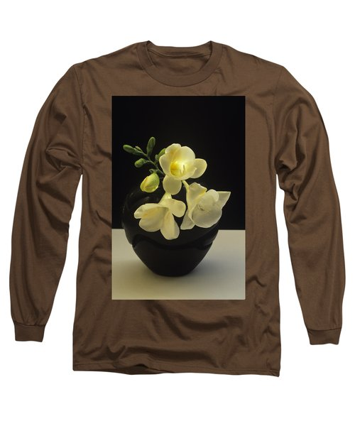 White Freesias In Black Vase Long Sleeve T-Shirt by Susan Rovira