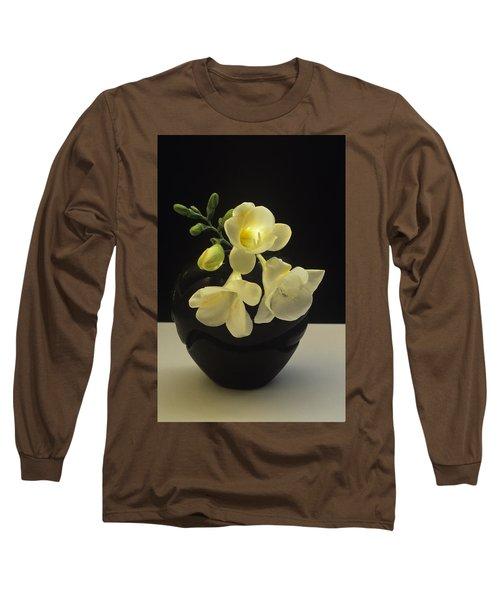 White Freesias In Black Vase Long Sleeve T-Shirt