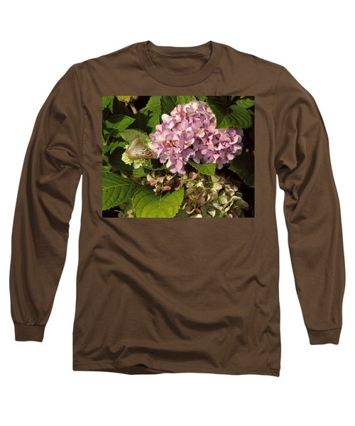 White Peacock On Hydrangea Long Sleeve T-Shirt