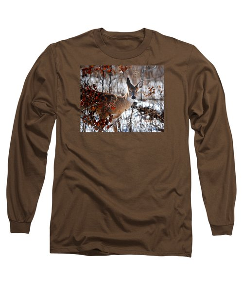Whitetail Deer In Snow Long Sleeve T-Shirt by Nava Thompson