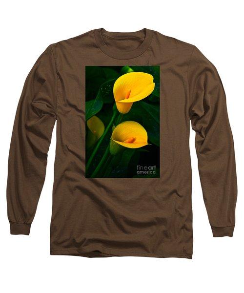 Yellow Calla Lilies Long Sleeve T-Shirt by Byron Varvarigos