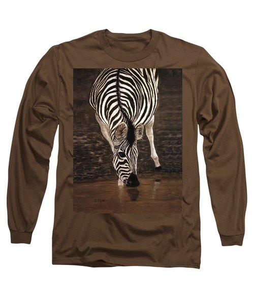 Long Sleeve T-Shirt featuring the painting Zebra by Karen Zuk Rosenblatt