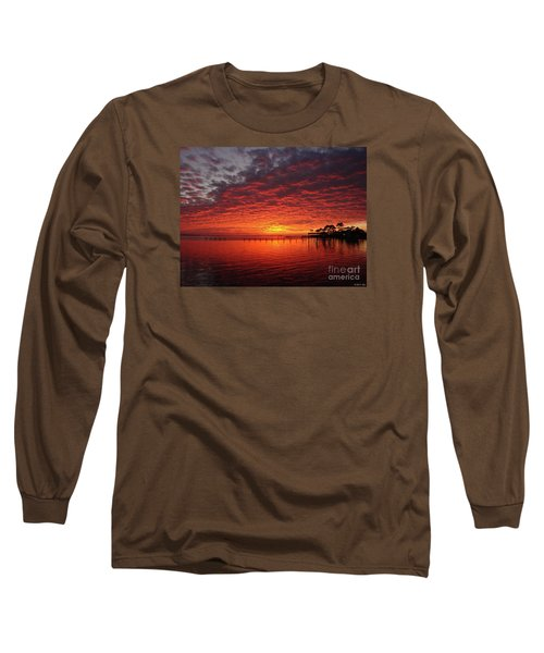 0205 Awesome Sunset Colors On Santa Rosa Sound Long Sleeve T-Shirt by Jeff at JSJ Photography