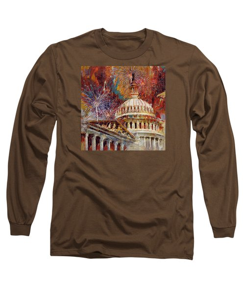 070 United States Capitol Building - Us Independence Day Celebration Fireworks Long Sleeve T-Shirt by Maryam Mughal