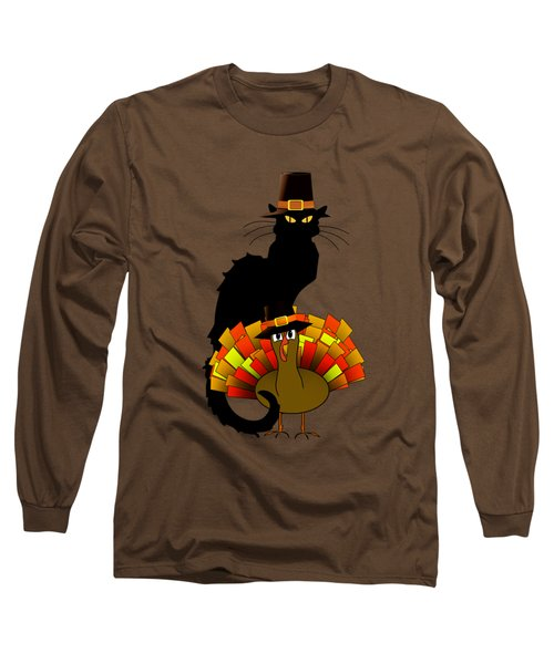 Thanksgiving Le Chat Noir With Turkey Pilgrim Long Sleeve T-Shirt by Gravityx9  Designs